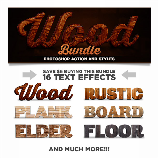 Bundle of wood photoshop action and styles text effects