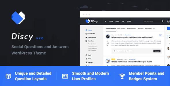 分享【汉化】Discy v2.0 - 社交问题和答案WordPress主题
