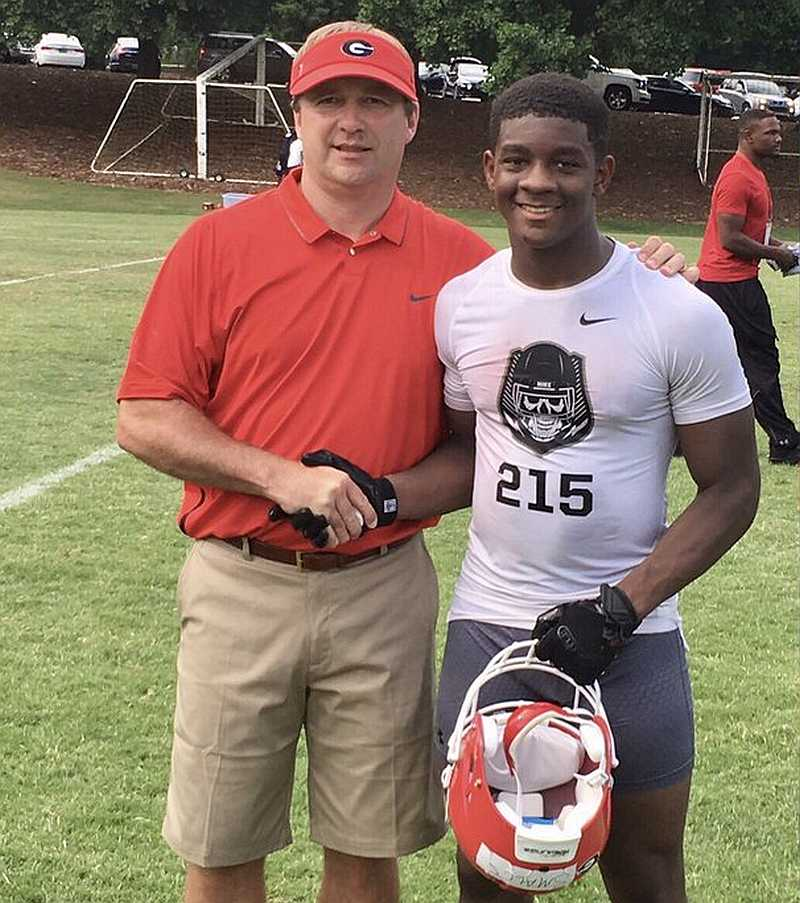 Class of 2018 RB Terrick Smalls Jr. (right) with Kirby Smart (Photo from Terrick Smalls Jr./Twitter)