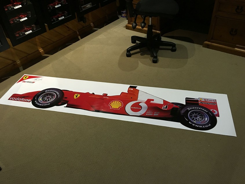 SCUDERIA FERRARI / MICHAEL SCHUMACHER HALF SIZE PANORAMIC F1 GRAND PRIX RACE CAR PICTURE
