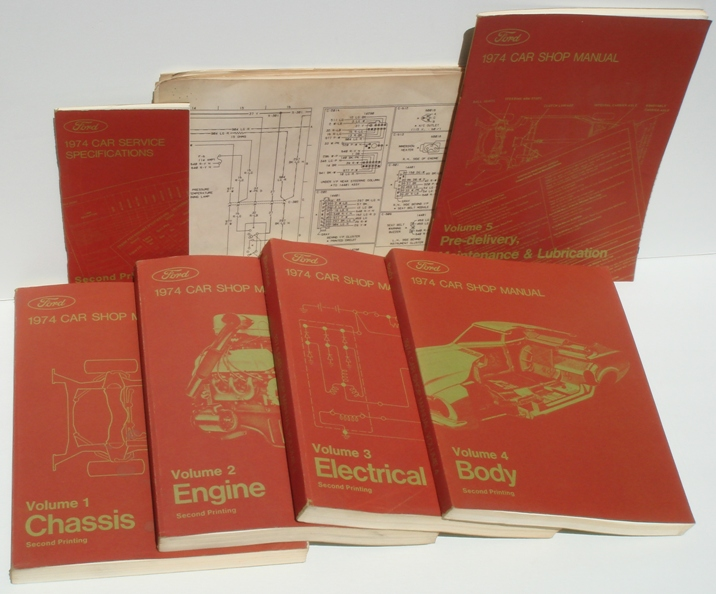 1974 Ford Oem Service Shop Repair Manuals  Five Volume Set
