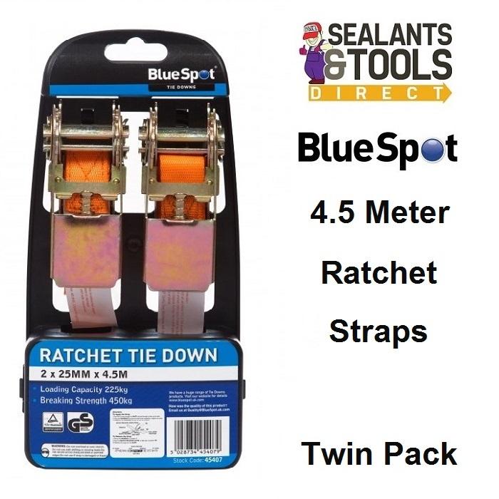Blue Spot Ratchet Straps Tie Down Twin Pack 45407
