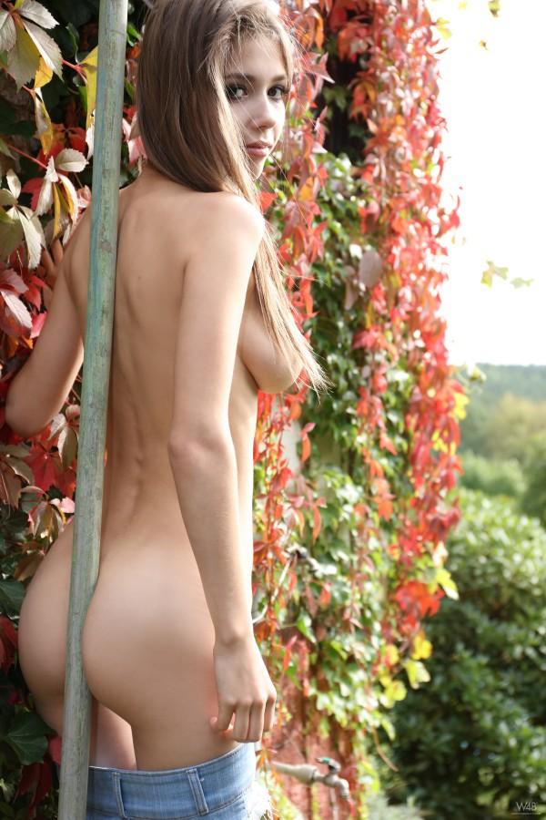 Busty_Shaved_Teen_Brunette_Babe_Happy_Fall_Yall_with_Big_Naturals_from_W4_B_Wearing_Jeans_Shorts_in_Garden_21