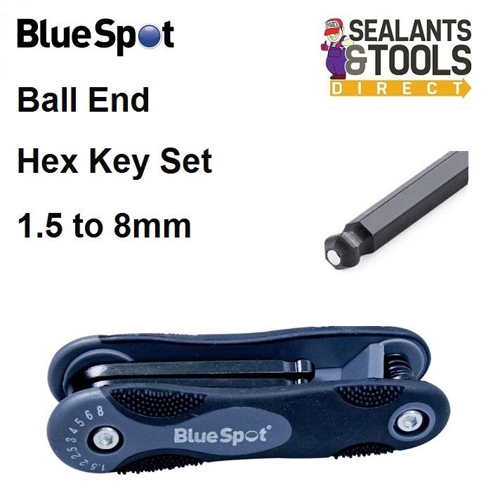 Blue Spot Metric Ball End Hex Key Folding Set 15364