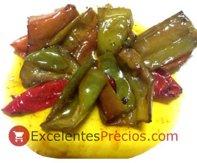 Freír con aceite de oliva, pimientos fritos