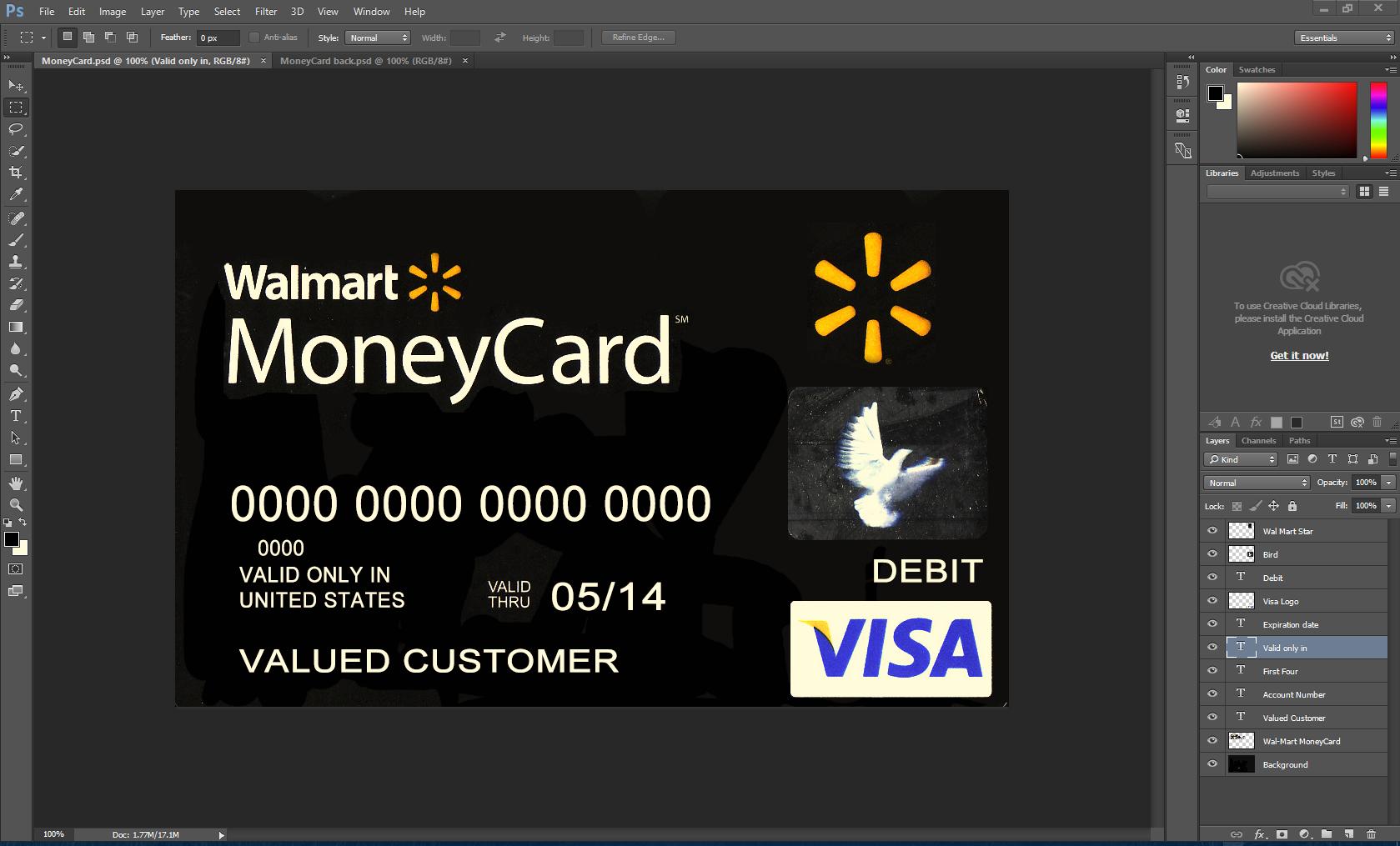 Walmart Visa Card PSD Template