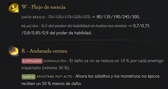 Nuevas estadísticas de Ezreal