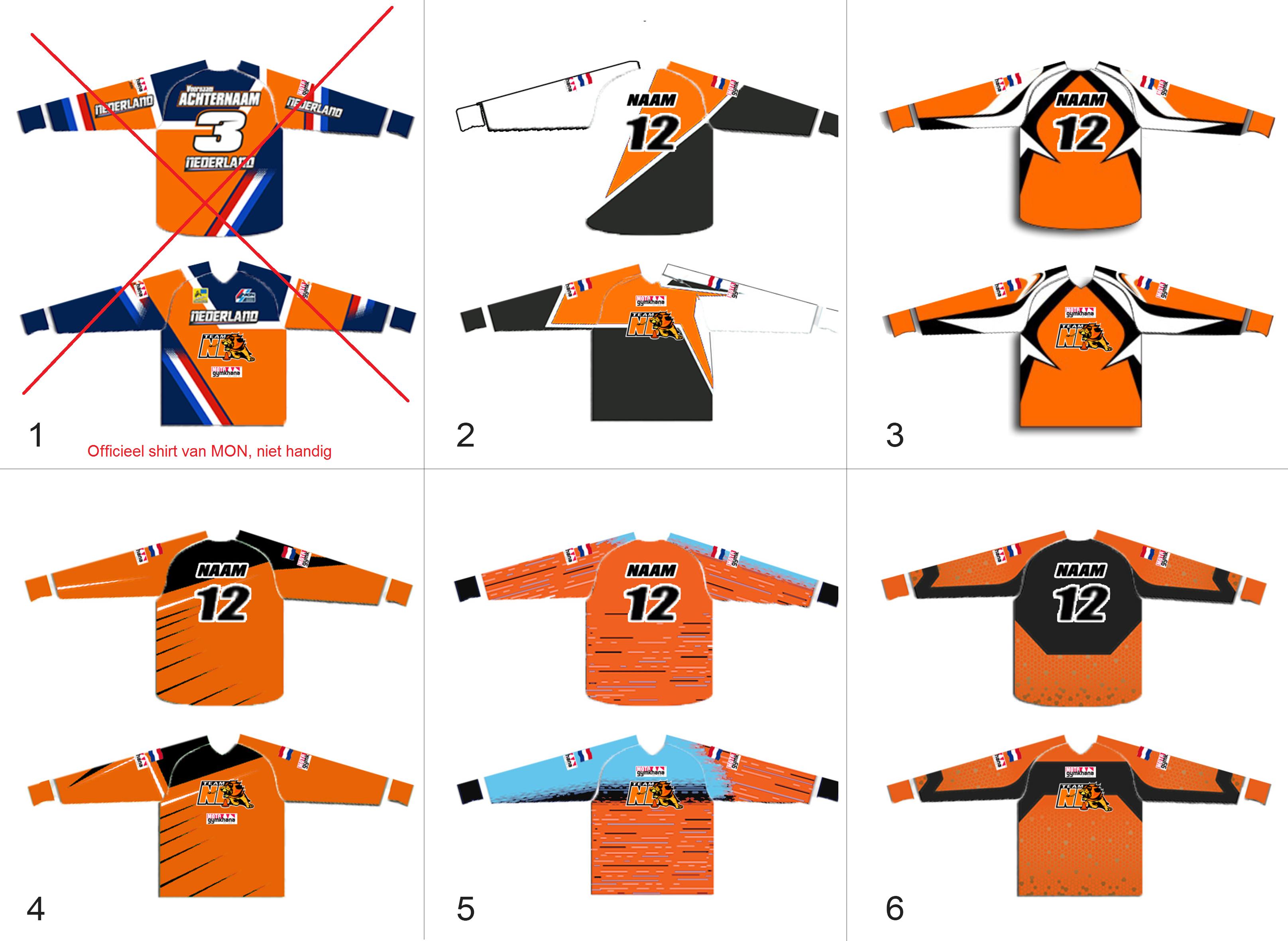 6 ontwerpen cross shirts