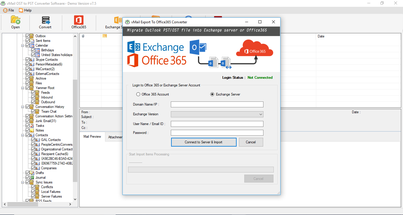 Export/Migrate Outlook Mailboxes from OST file to Office 365