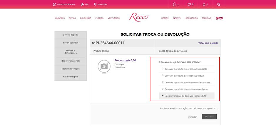 9878da7133 Recco Lingerie - Trocas e Devoluções - Recco