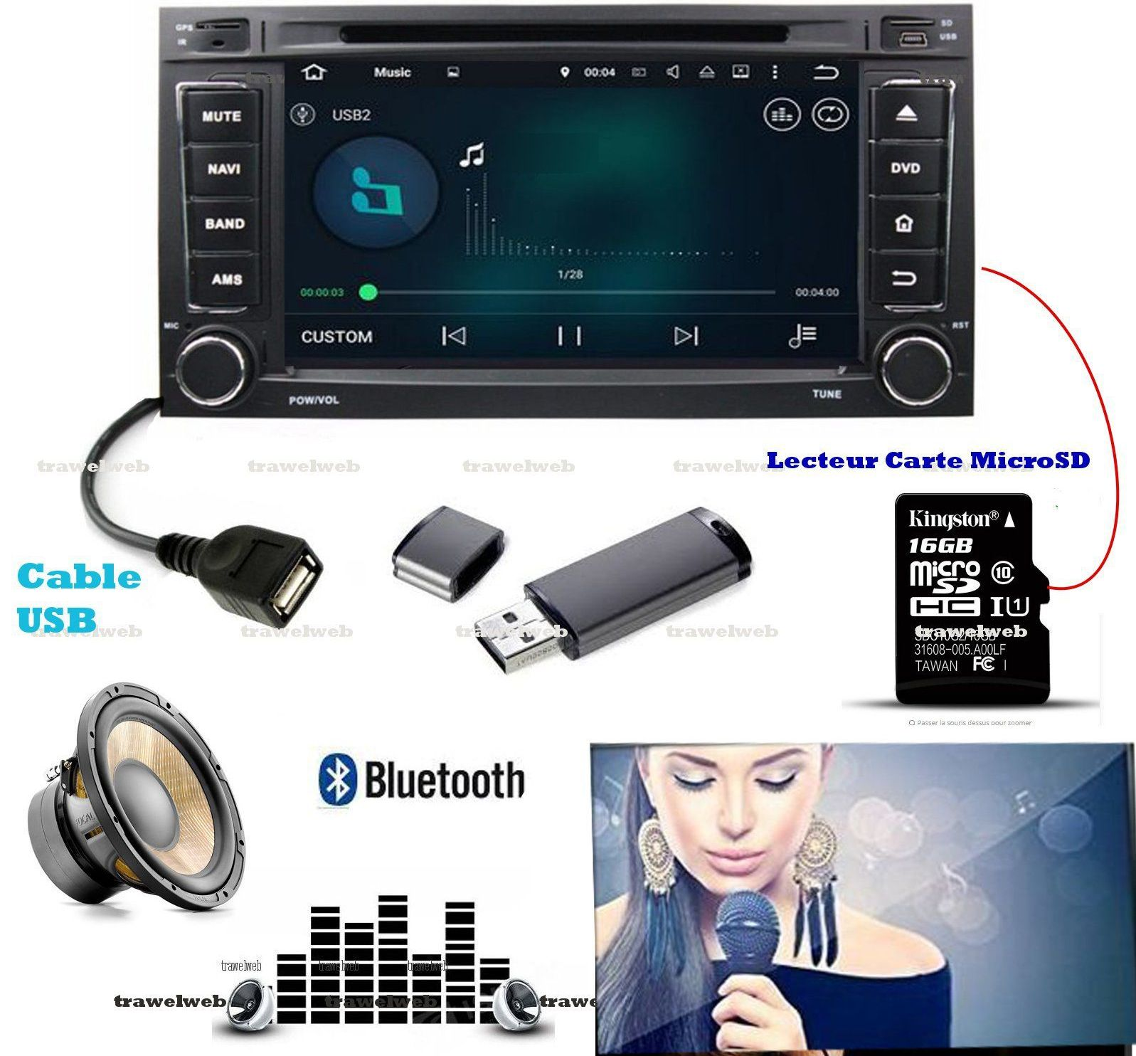 autoradio gps bluetooth wifi 2din android adaptable t5 touareg cam ra recul ebay. Black Bedroom Furniture Sets. Home Design Ideas