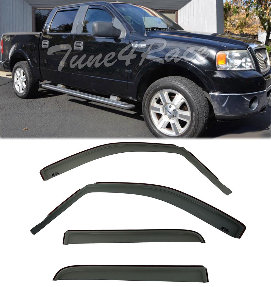 TrailFX Smoke TapeOn Rainguard Vent Visor Set For 04-08 Ford F-150 06-08 Mark LT