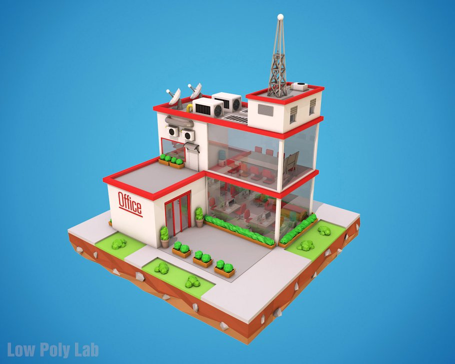 Cartoon Office Low Poly (3DS Max, Blender, Cinema 4D)
