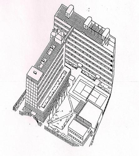 Рисунок Дома архитекторов на Гоголевском бульваре