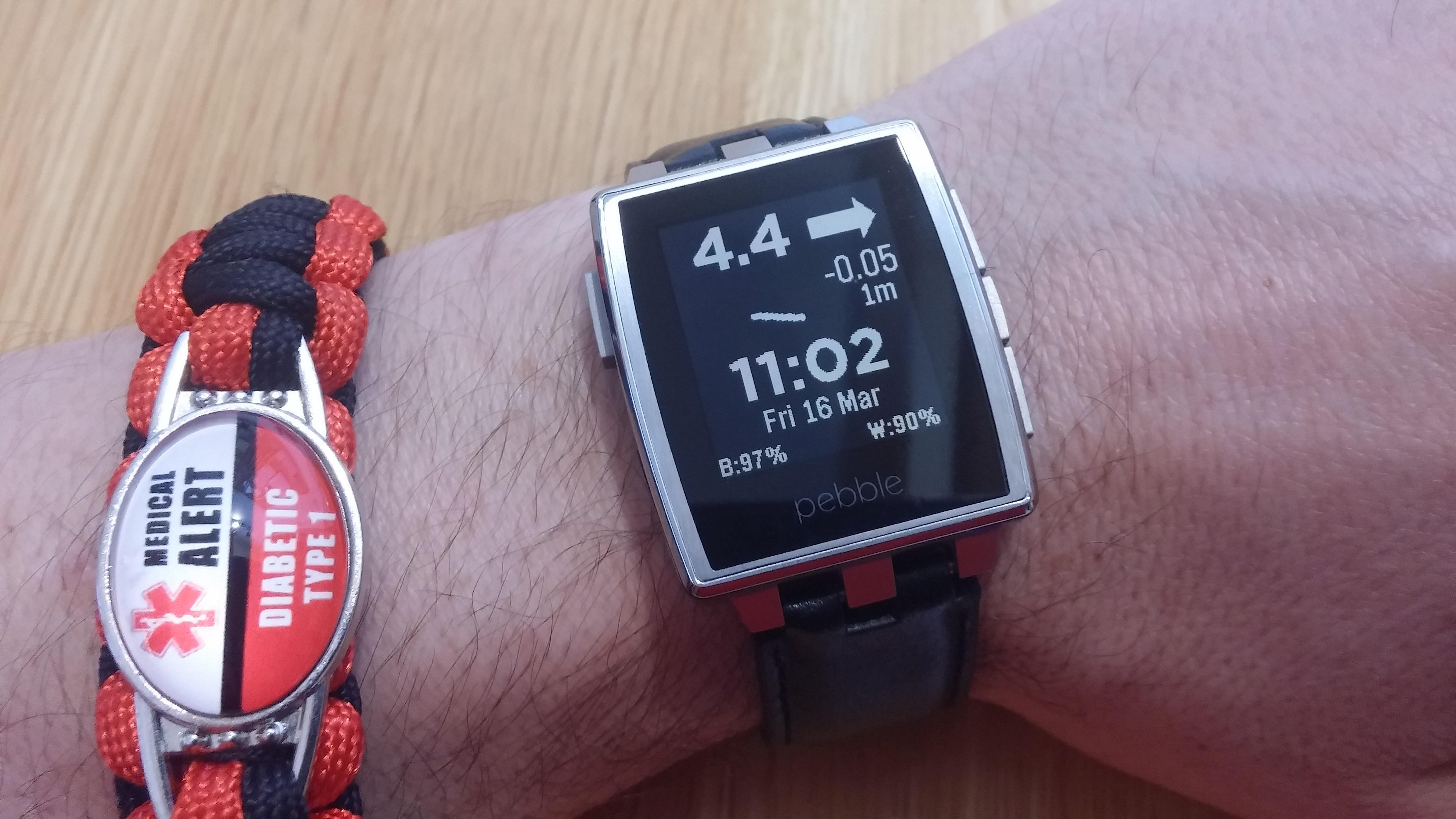 Pebble hodinky se zobrazením hodnot z FreeStyle Libre