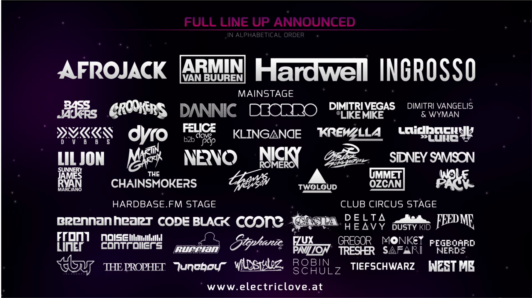 Electric Love Festival Line Up 2014