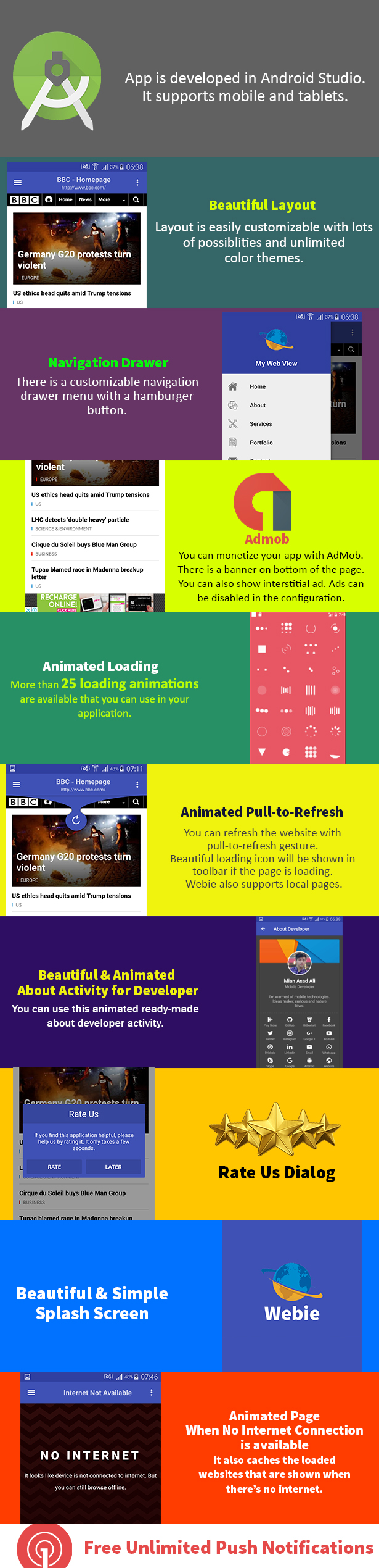 Webie - Animated WebView App for Android with Push Notification, AdMob & Lots of Animations - 1