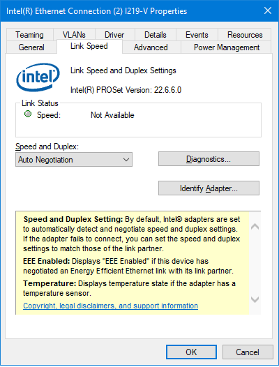 Intel I219-V refuses to establish a connection! always disconnected ...