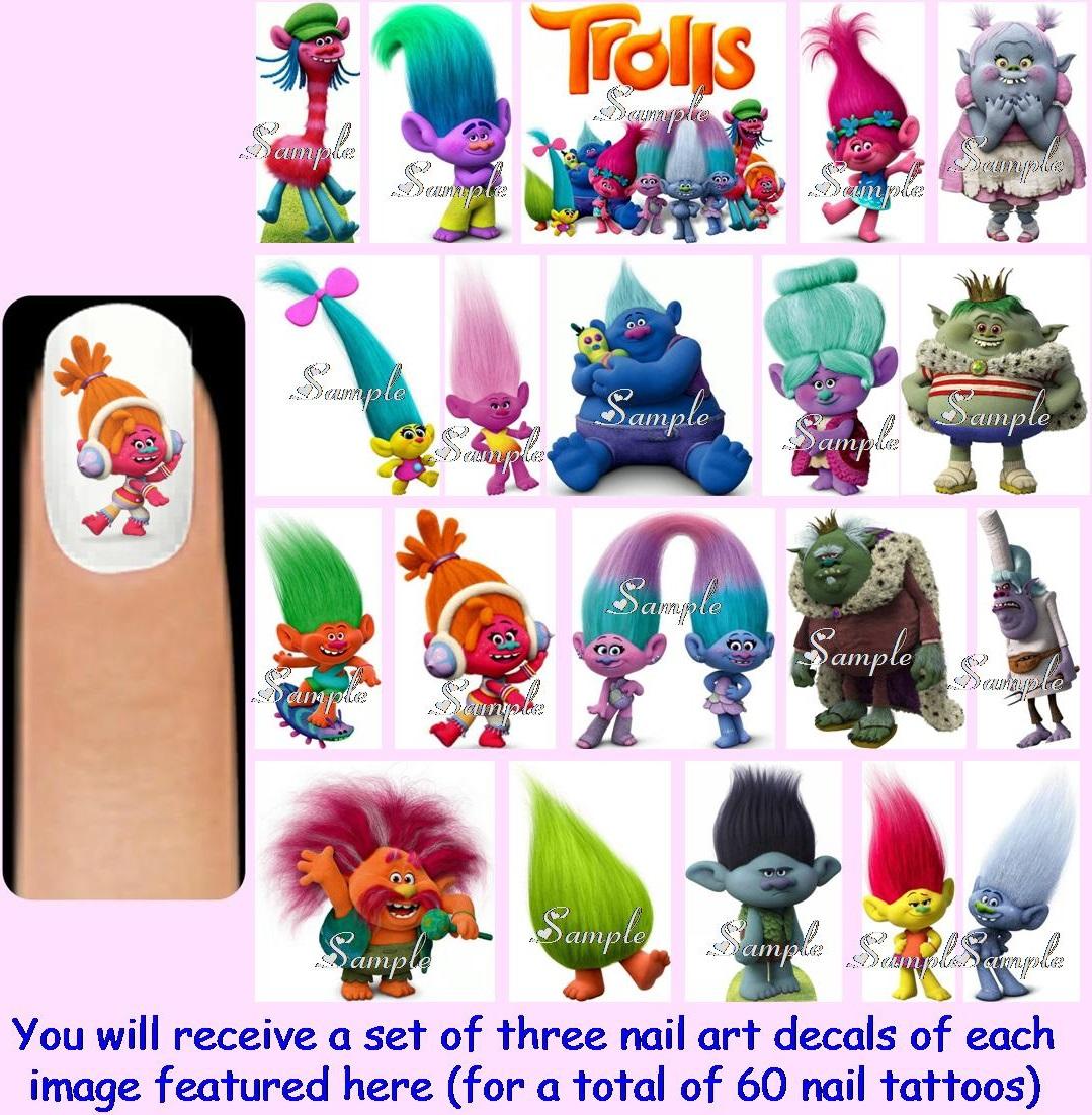 Trolls Movie Nail Art: 60x TROLLS Nail Art Decals + Free Gems The Movie Dolls