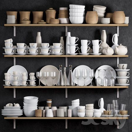 KITCHEN SHELF WITH UTENSILS
