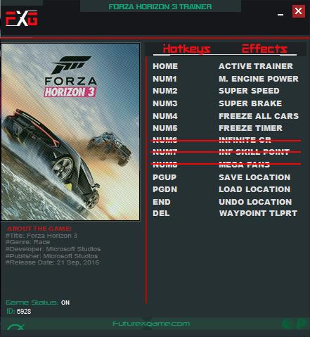 Trainer - Forza Horizon 3! OFFLINE CODEX Release -> FutureX Trainer
