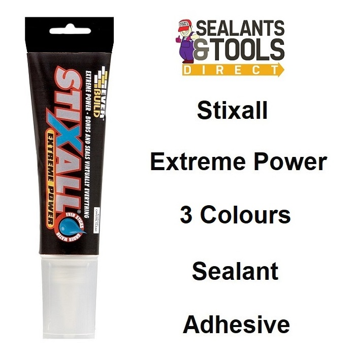 Everbuild Stixall Easi Squeeze Adhesive Sealant 80ml White Clear Black