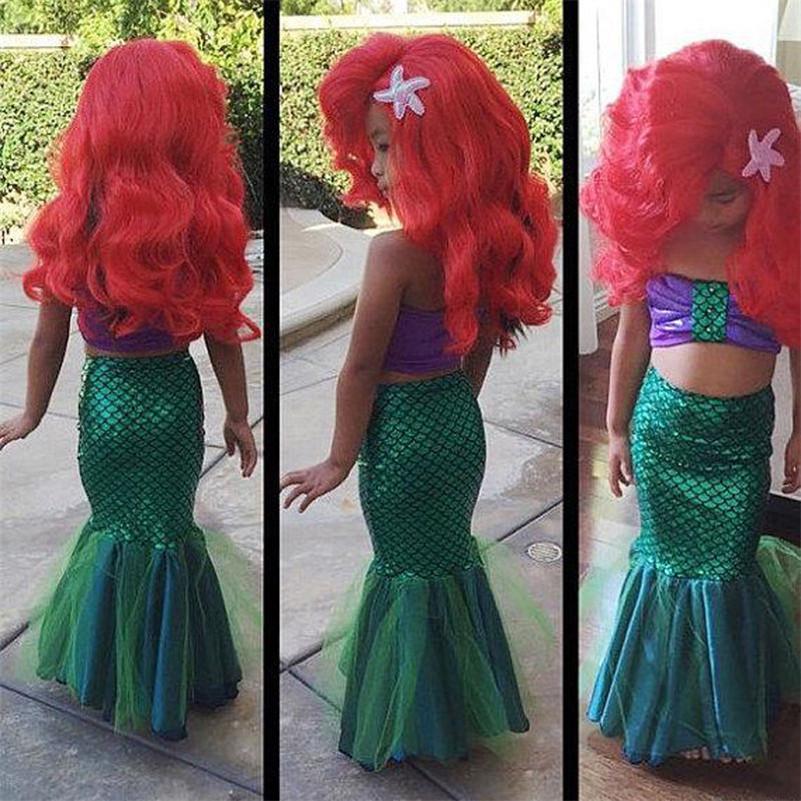 Mermaid Girls Costume Kids Dress Tail Fancy & Mermaid Girls Costume Kids Dress Tail Fancy Little Swimsuit Swimwear ...