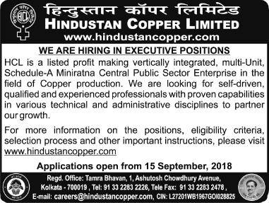 Hindustant Copper Limited Hiring in  Executive Positions