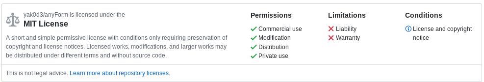 anyForm MIT License