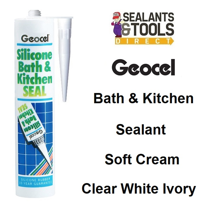 Geocel Bath Kitchen Silicone Sealant White Clear Soft Cream Ivory