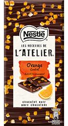 Tablette Nestlé Les Recettes de l'Atelier chocolat noir et orange confite