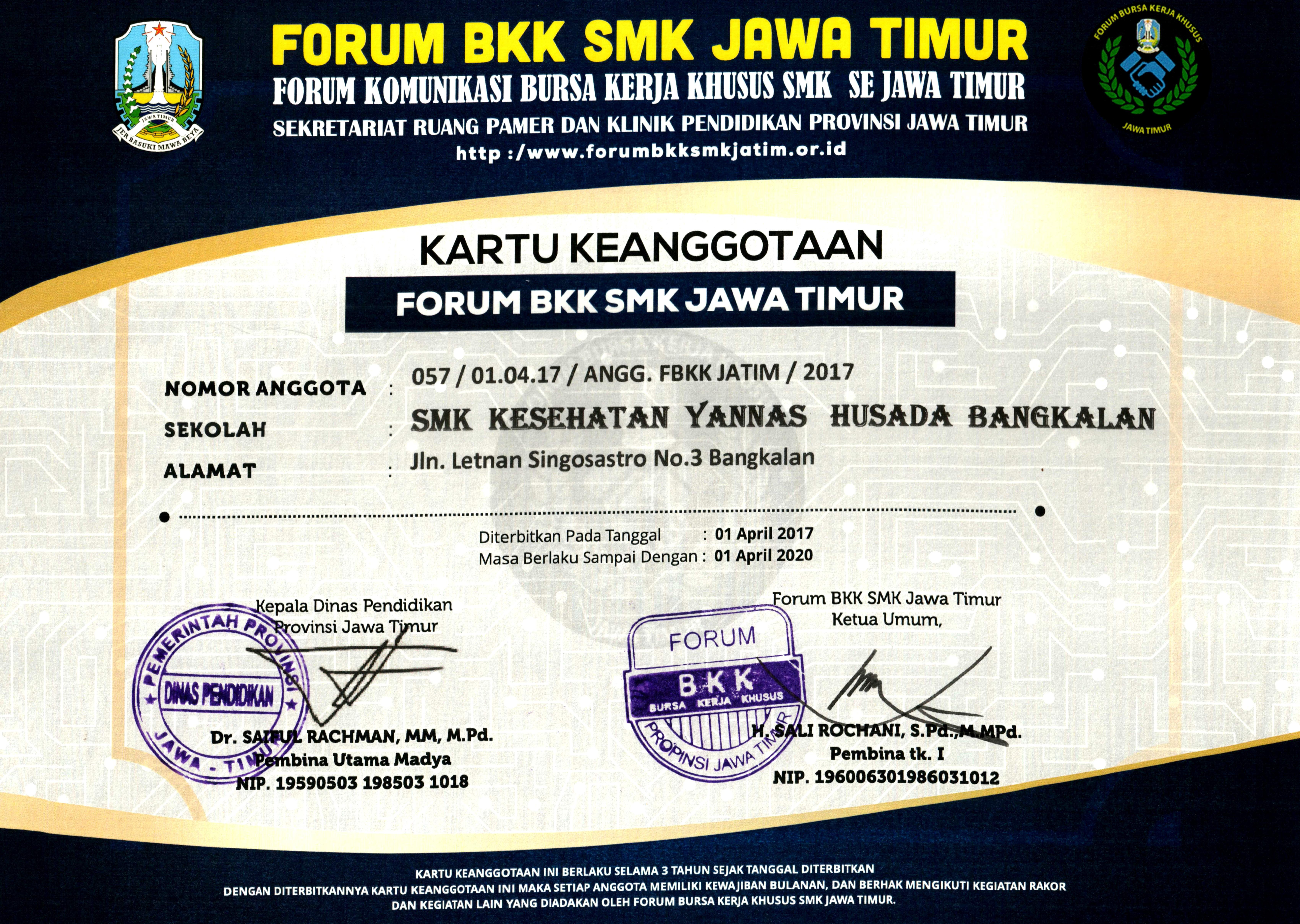 KARTU_KEANGGOTAAN_Forum_BKK_SMK_Jawa_Timur_SMKS_Kesehatan_Yannas_Husada