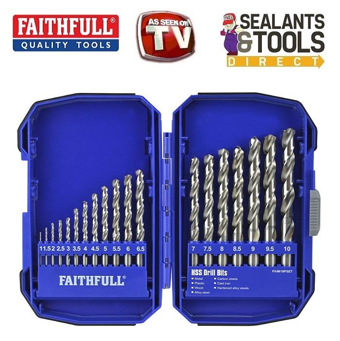 Faithfull HSS Drill Bit 19pc Set in Case XMS18HSS19