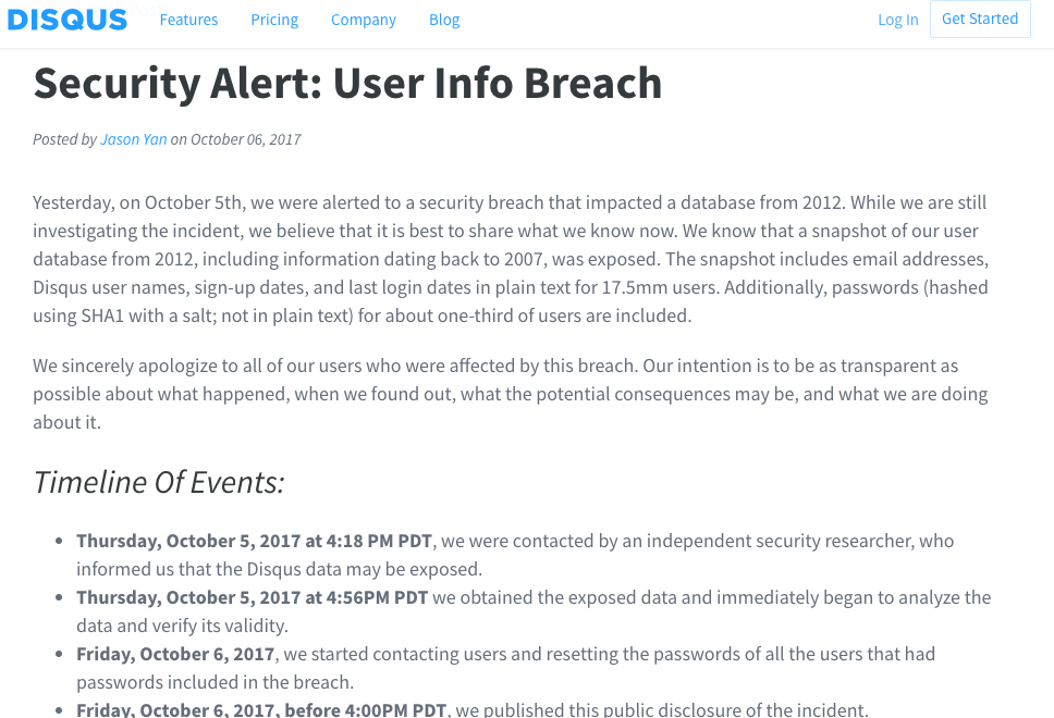 Disqus User Info Breach Blog Post