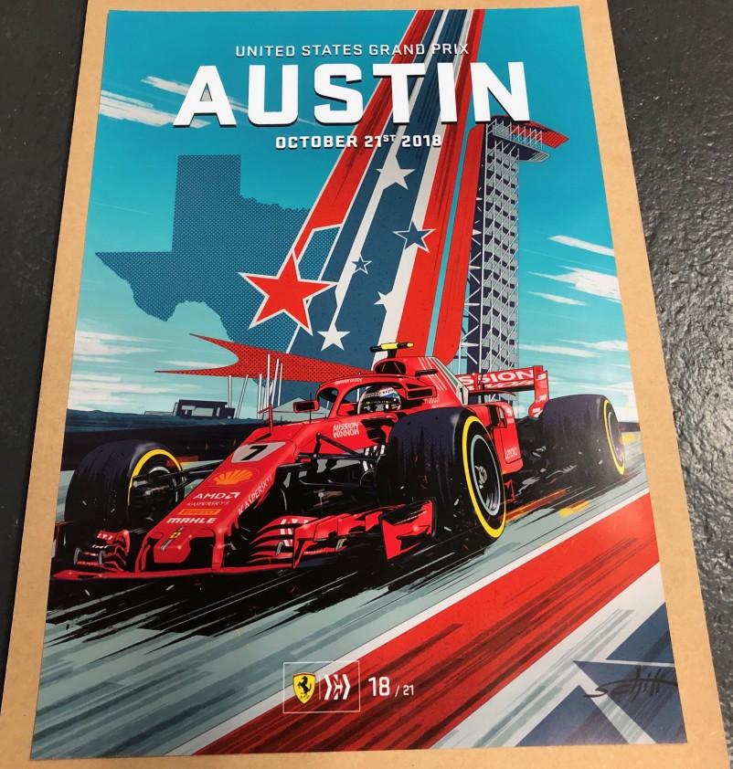 2018 USA F1 GRAND PRIX RACE POSTER
