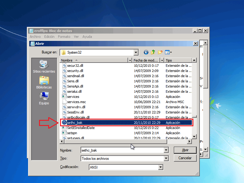 Archivos renombrado Sethc_bak - Borrar clave en Windows 7