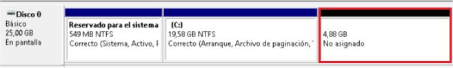 Instalar Windows sin USB ni CDs - Nuevo volumen sin formato