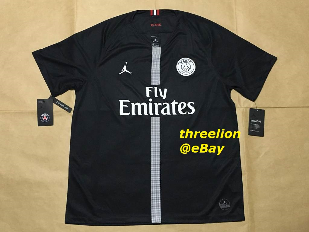 c0a22bfe42b50f BRAND NEW WITH TAG. 2018 19 JORDAN x PARIS SAINT-GERMAIN   PSG Third Black  S S Soccer Jersey Football Shirt. PSG18301