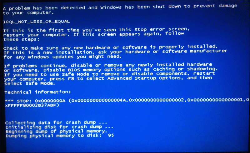 fake windows 7 blue screen