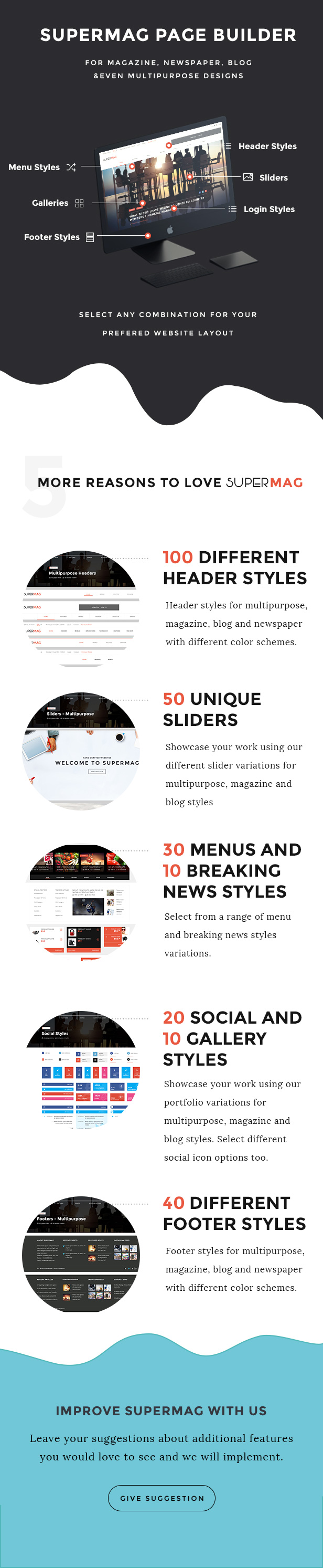 SuperMag - Magazine/Newspaper/Blog & Builder PSD Template - 4