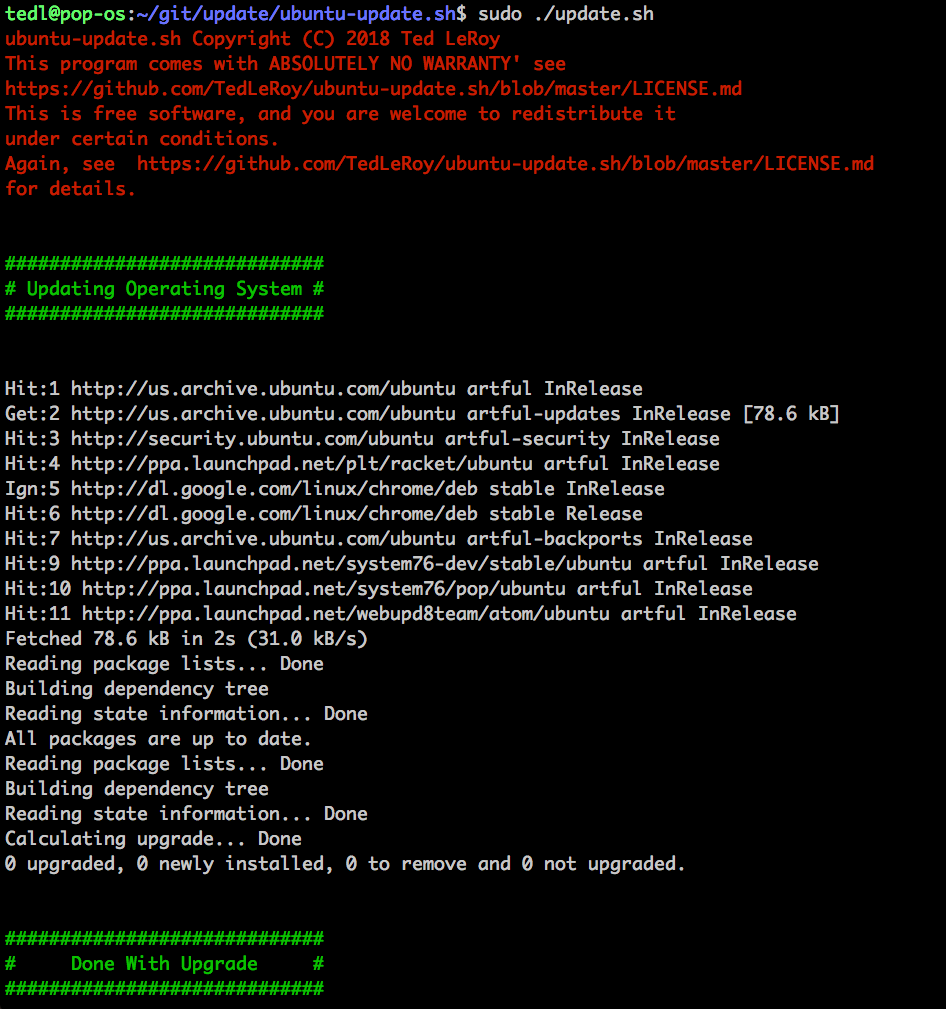 Screenshot 1 of ubuntu-update.sh run