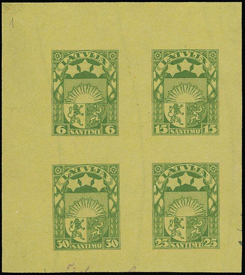 Izmēģinājuma iespiedums zaļā krāsā uz iedzeltena papīra. Pārdots izsolē par 2 500 €.