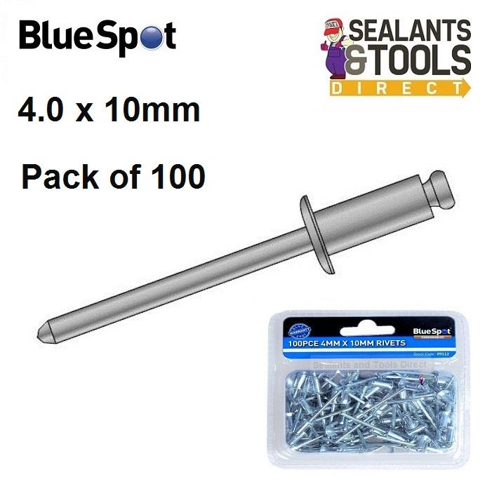 BlueSpot 4.0mm X 10mm Pop Rivets 09112