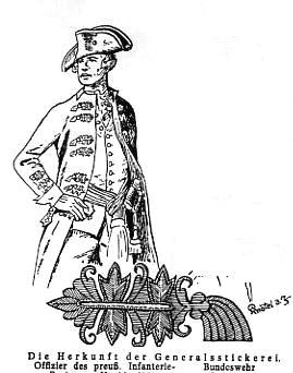Los bordados Larisch y su posición en el uniforme, de oficial prusiano del 26º regimiento de infantería