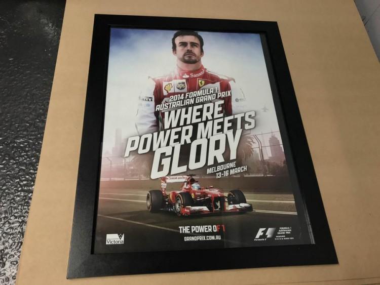 2014 F1 AUSTRALIA ALONSO FERRARI RACE POSTER