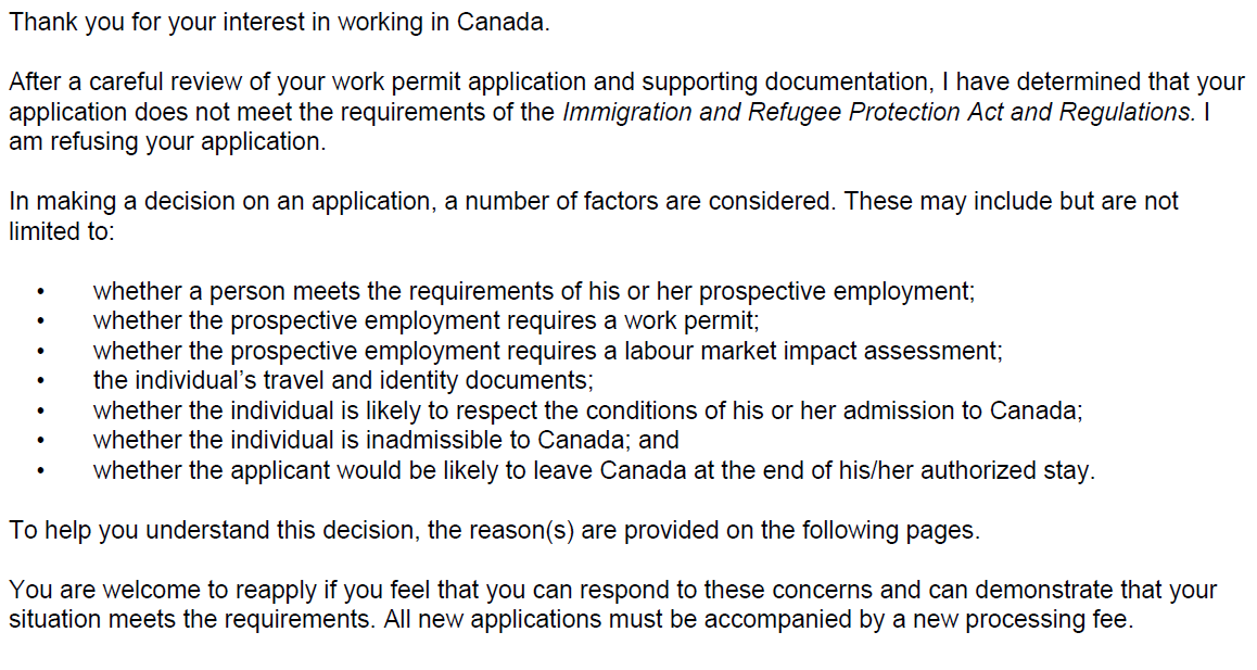 spouse open work permit refused