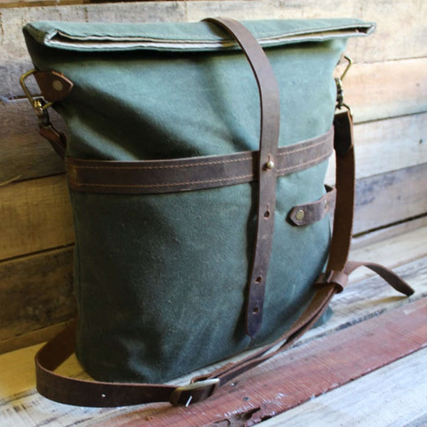 MEDIUM Rucksack Roller Messenger/Tote Bag - Waxed Canvas