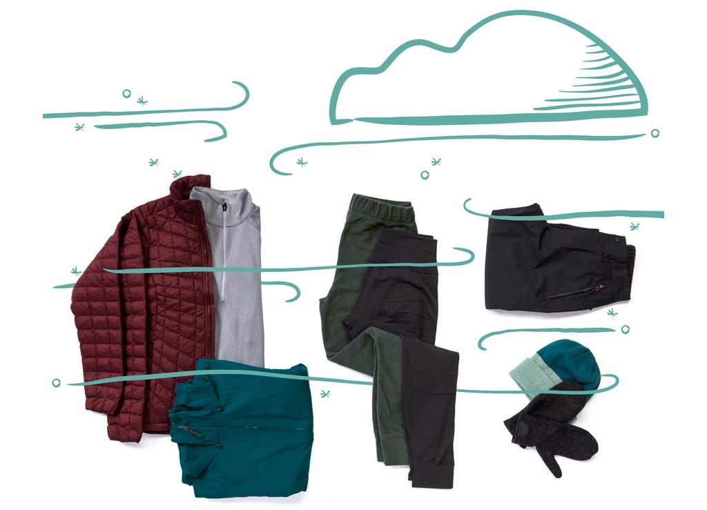 Orta kalınlıkta polyester üst ve alt içlik; sentetik yalıtımlı bir mont; orta kalınlıkta polar montlar; su geçirmez / nefes alan yağmurluk ve pantolon.