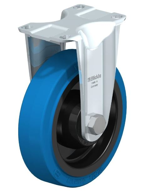 "BYB-POEV 126K-12-SB-FK Made of pressed steel. Bolted wheel axle. Zinc-plated blue-passivated Cr6-free. Made of high-quality elastic solid rubber in smooth rolling quality ""Blickle EasyRoll"" very high operational comfort low-noise operation low rolling res"