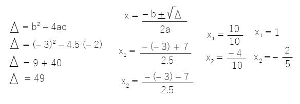 cálculo 5x2 - 3x 2 = 0